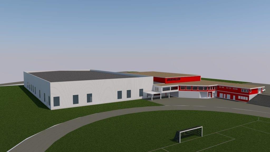SKISSE: Flerbrukshallen blir bygd i tilknytning til Gruehallen, og her er den første skissen av hallen som ble presentert i sommer.