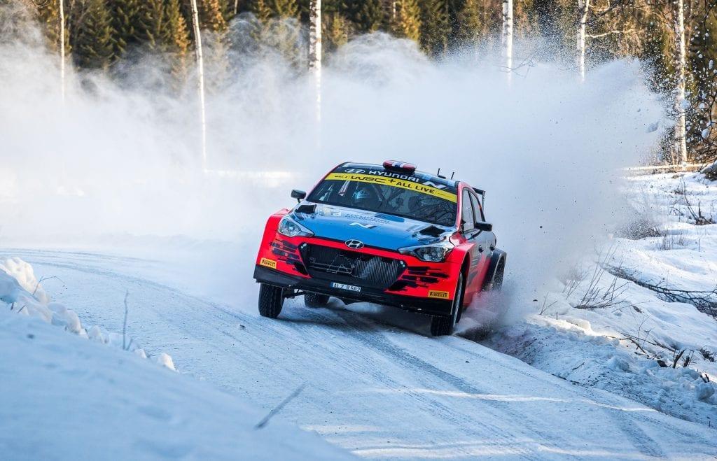 VINTEREVENTYR: Det er duket for perfekte forhold under årets andre NM-runde. Foto: Fabien Dufour Worldwide/Hyundai Motorsport