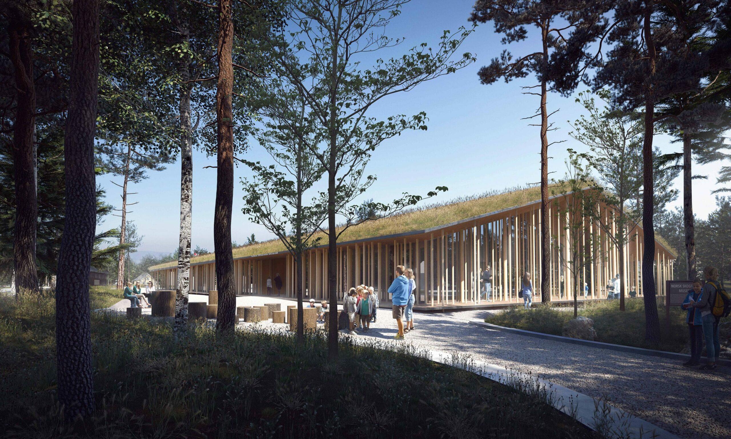 FÅR DRAHJELP: Innlandet Venstre vil at «Finnskogens hus» på Svullrya skal bli realisert. Dette var vinneren av arkitektkonkurransen til Norsk Skogfinsk Museum i 2018.