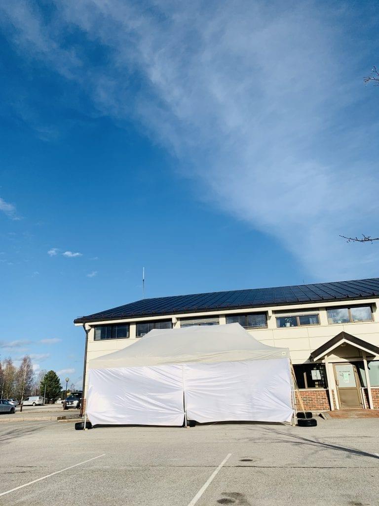 Korona-testsenter. Foto: Liv Rønnaug B. Lilleåsen