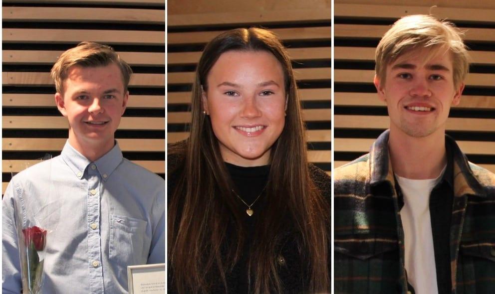 STIPEND: Sigurd Opsahl Gjermshus (t.v.), Mia Østerud Nymoen og Anders Aurdahl Sundkøien fikk utdelt stipend av Grue kommune. Foto: Grue kommune
