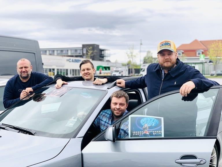 DRIVE IN-DAG: Erik Holtet, (t.v.), Oliver Bråten, Bjørn-Martin Brandett og Henrik Berg Enger vil skape litt på Flisa igjen. Nå blir det drive in-dag med konserter og kino lørdag 6. juni. Foto: Liv Rønnaug B. Lilleåsen