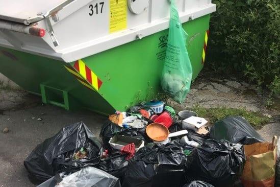 SØPPEL I KILA: Noen har kastet store mengder søppel utenfor hytterenovasjonen i Skalbukilen. Solør Renovasjon IKS ber folk skjerpe seg. Foto: Solør Renovasjon IKS.