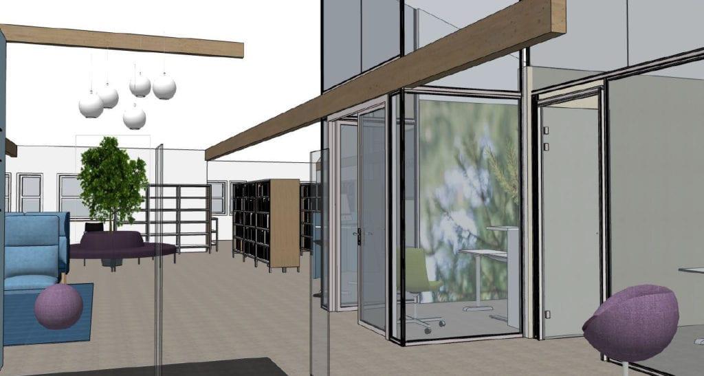 NYTT OG MODERNE: Det nærmer seg åpning av nye lokaler for Sparebank1 Østlandet i Våler. Slik blir lokalene innvendig.