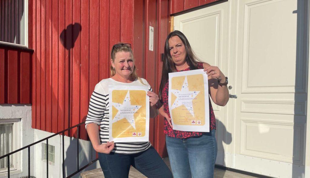 BLI MED Å DANS: Har du ikke prøvd moderne linedance anbefaler vi deg absolutt å komme til Kjellmyra Idrettshus, sier Nina Kvesetberget fra venstre og Eva Christensen.