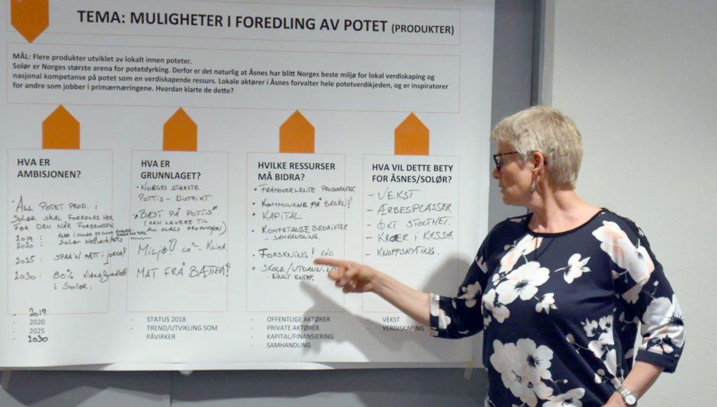 SNAKKER FOR POTETEN: Borghild Glorvigen jobber som fagkoordinator for potet i Norsk Landbruksrådgivning, og slår helt klart et slag for poteten. Her fra et workshop i Åsnes kommune for noen år siden, med blant annet tema potet.
